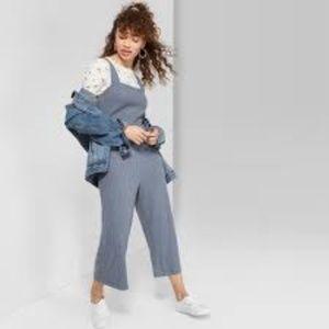 Sleeveless Square Neck Strappy Rib Knit Jumpsuit